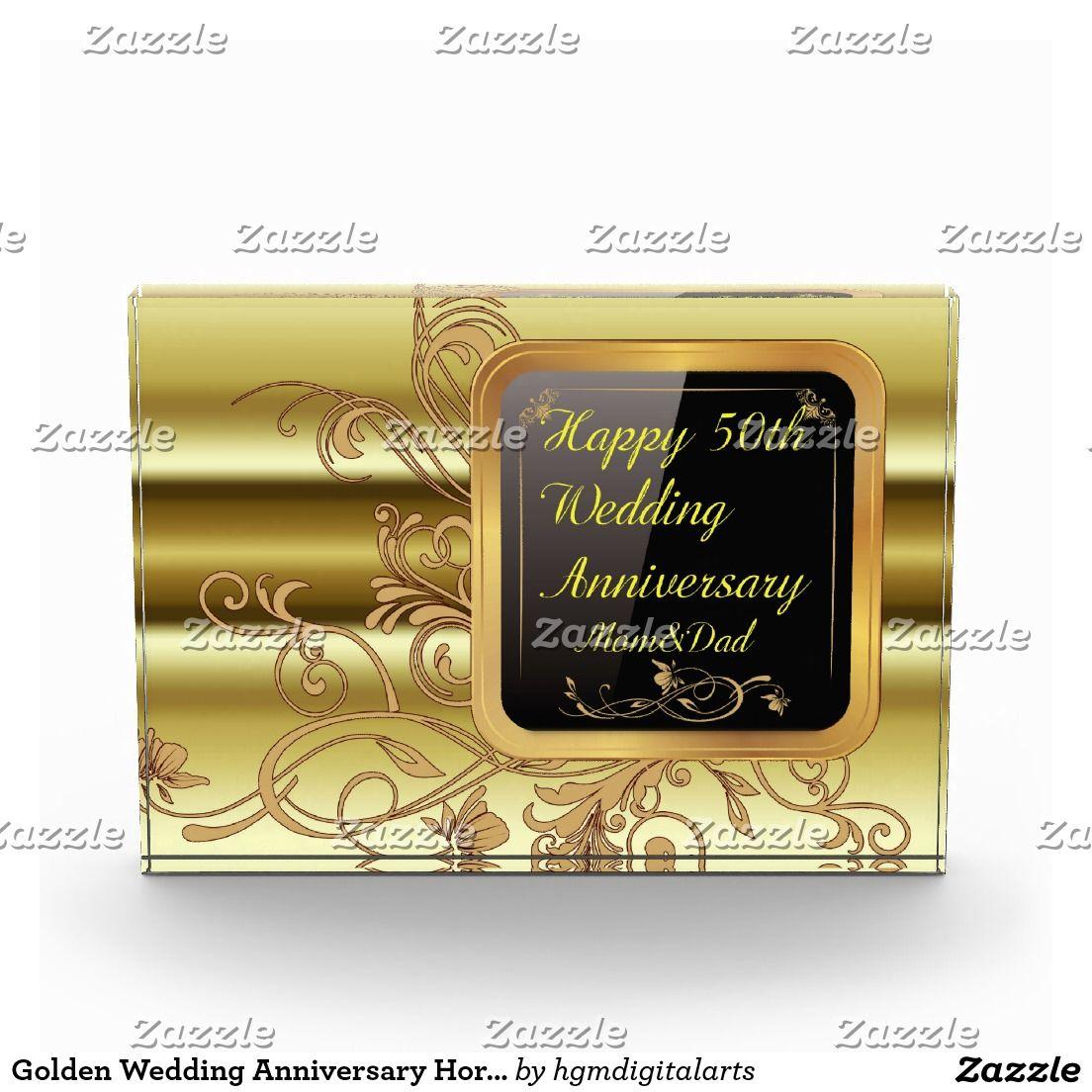 Golden Wedding Anniversary Horizontal Block Award Zazzle Com