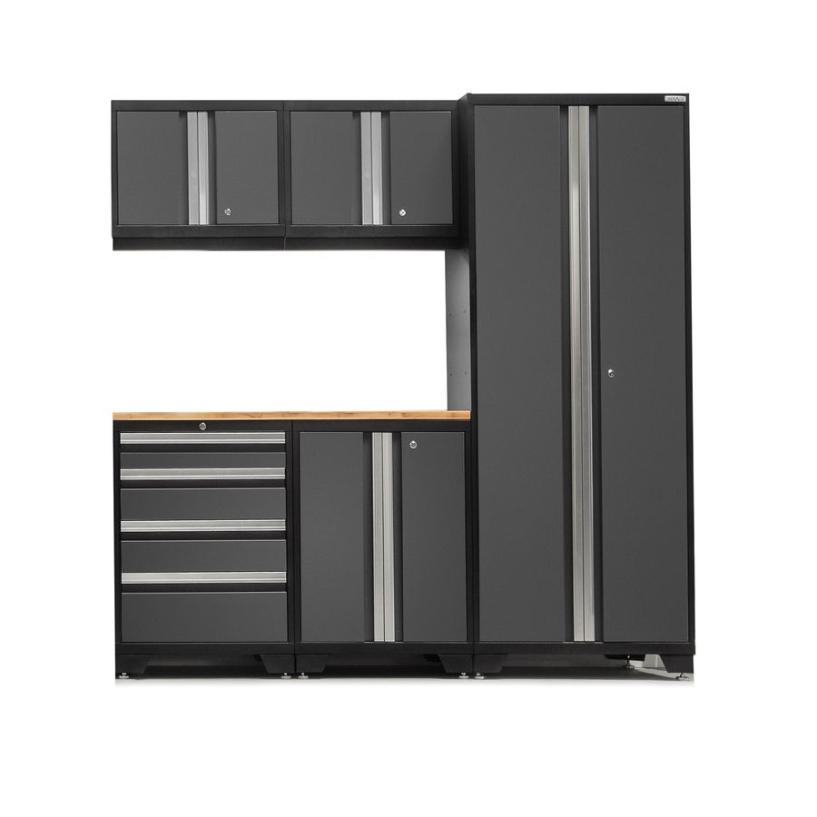 Newage Products Bold 3 0 78 In W X 77 In H Jet Black Frames With Charcoal Gray Doors Steel Garage Storage System Lowes Com Newage Products Home Garage Storage Systems