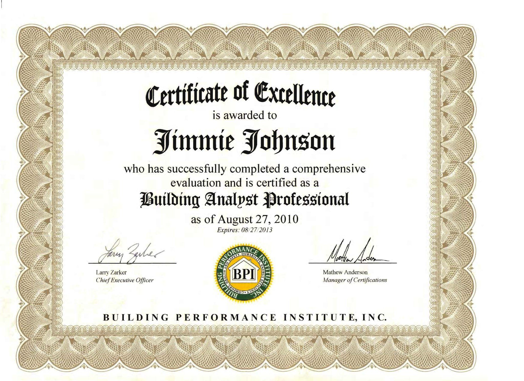 This is a copy of Jimmie Johnson's first BPI Certificate