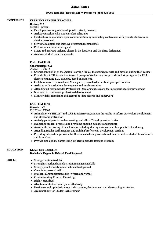 Teaching Skills for Resume Amazing Esl Teacher Resume