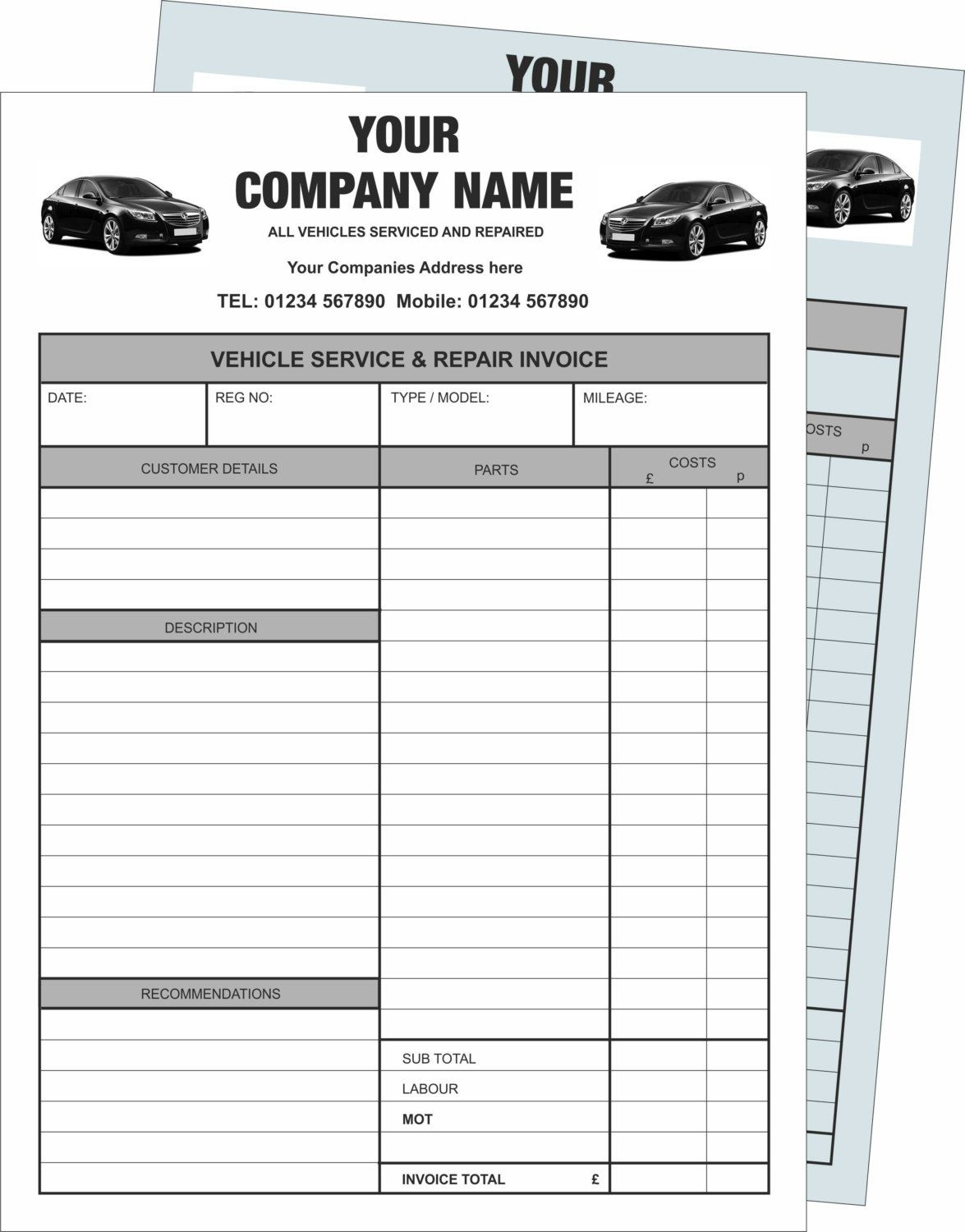 Mechanics Personalised Carbonless Part White Blue NCR Invoice - Invoice pads