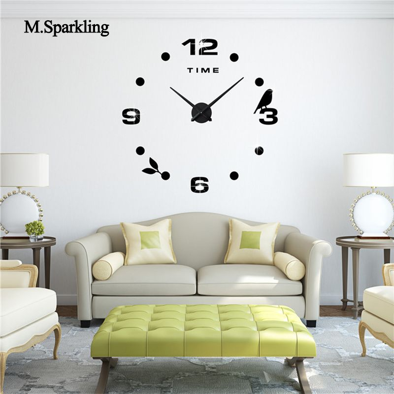 Us 19 00 M Sparkling Decorative Wall Clock 3d Large Size Digital Clock Decorative Digital Large Msparkling Size Wall