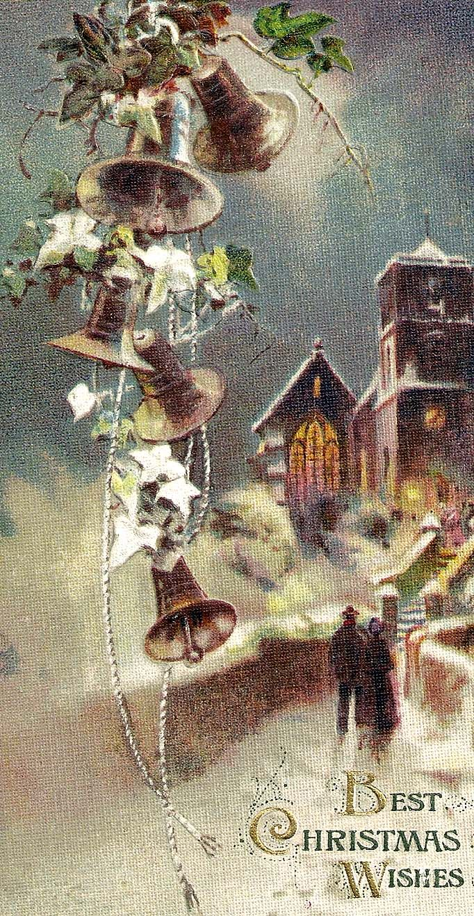 Best Christmas Wishes Lovely Scene Greeting Cards Vintage