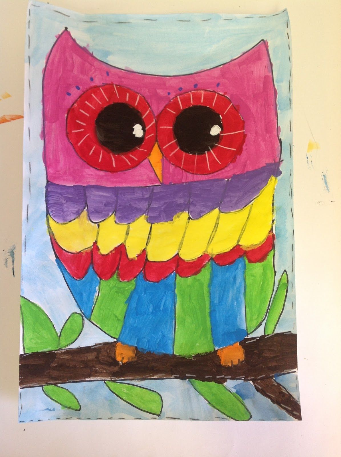 Color wheel art lesson for second grade - Third Graders Have Been Working On These Beautiful Owls For The Past Few Weeks We Drew The Owls Together Then Discussed The Color Wheel