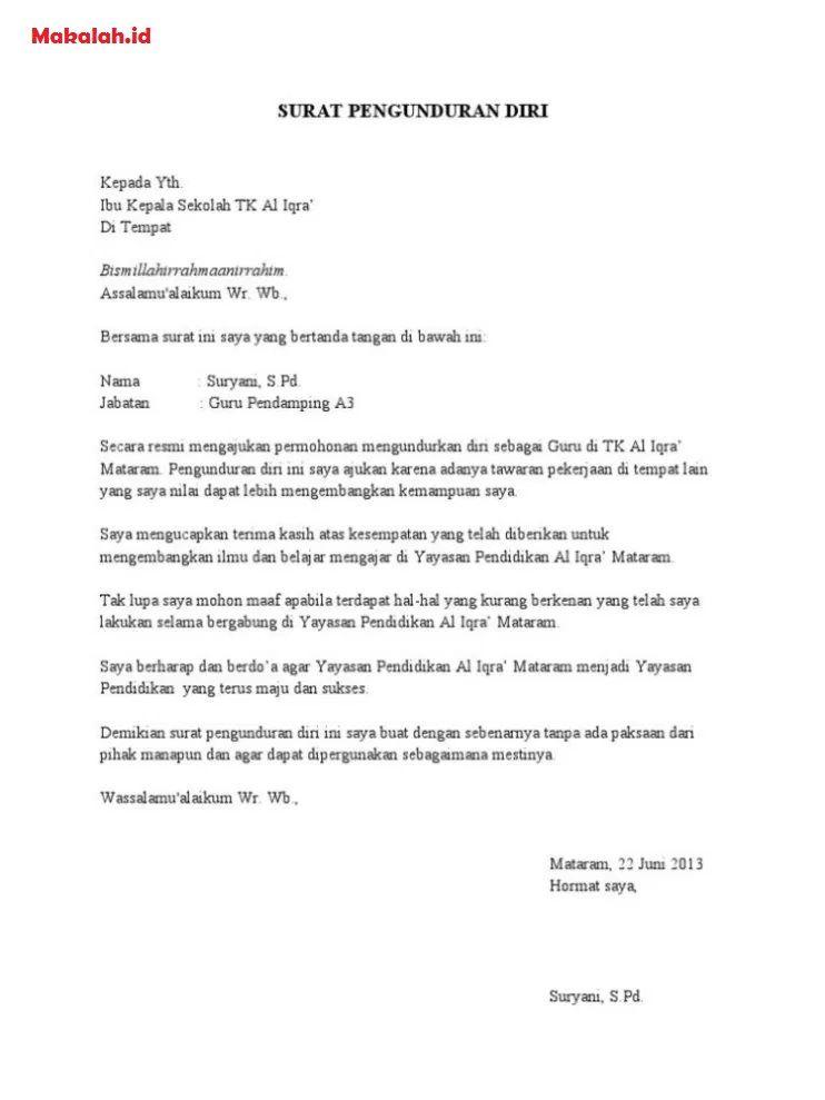 16 Contoh Surat Pernyataan Pengunduran Diri Dari Yayasan Kumpulan Contoh Surat