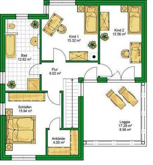 plano de casa de dos plantas y 4 dormitorios planos
