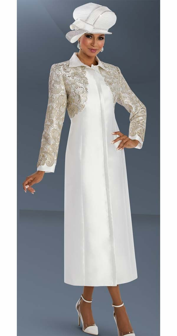Donna Vinci 11591 Womens Dress Coat With Elaborate Silver Gold