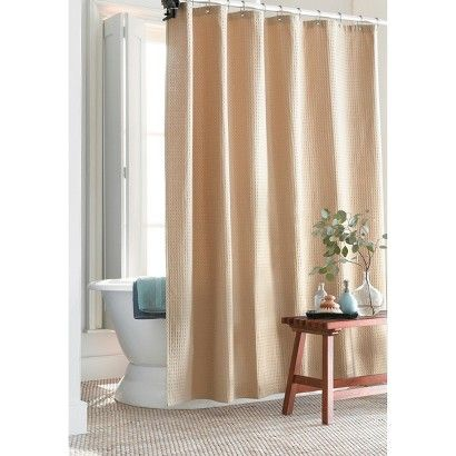 Target Home Waffle Weave Shower Curtain Tan Waffle Weave