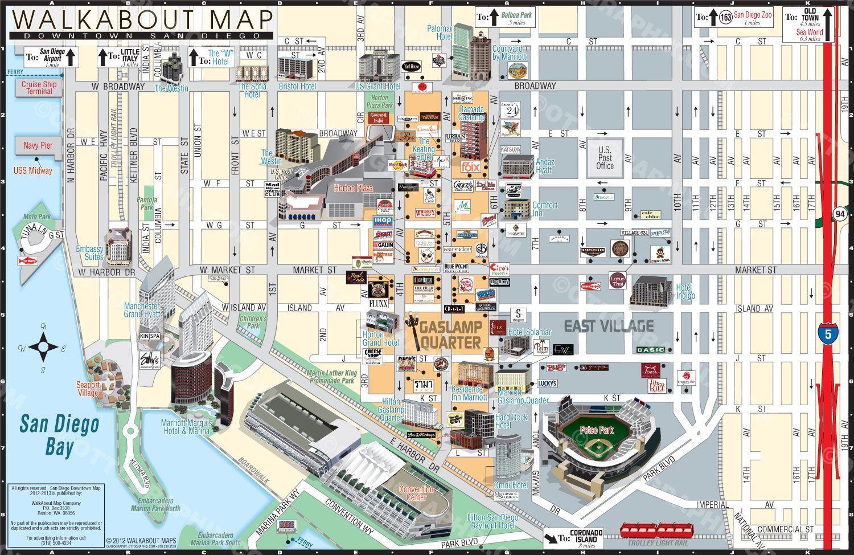 San Diego Gaslamp Walking Map CartographyMap Examples Pinterest