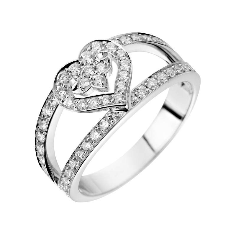 Emblematic collection Légendes, beautiful engagement ring for your bride-to-be, grey gold & diamonds