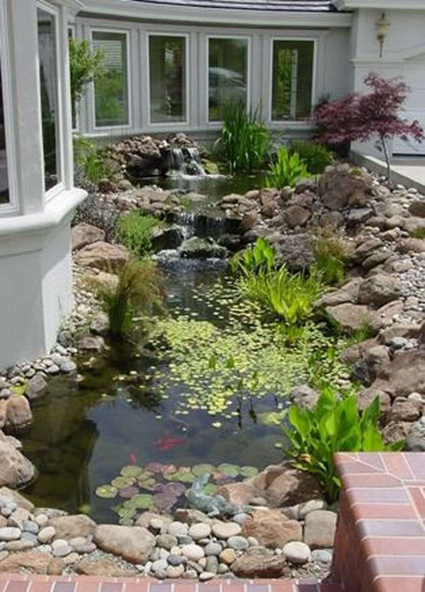 Beautiful backyard fish pond landscaping ideas 35 if i for Above ground pond ideas
