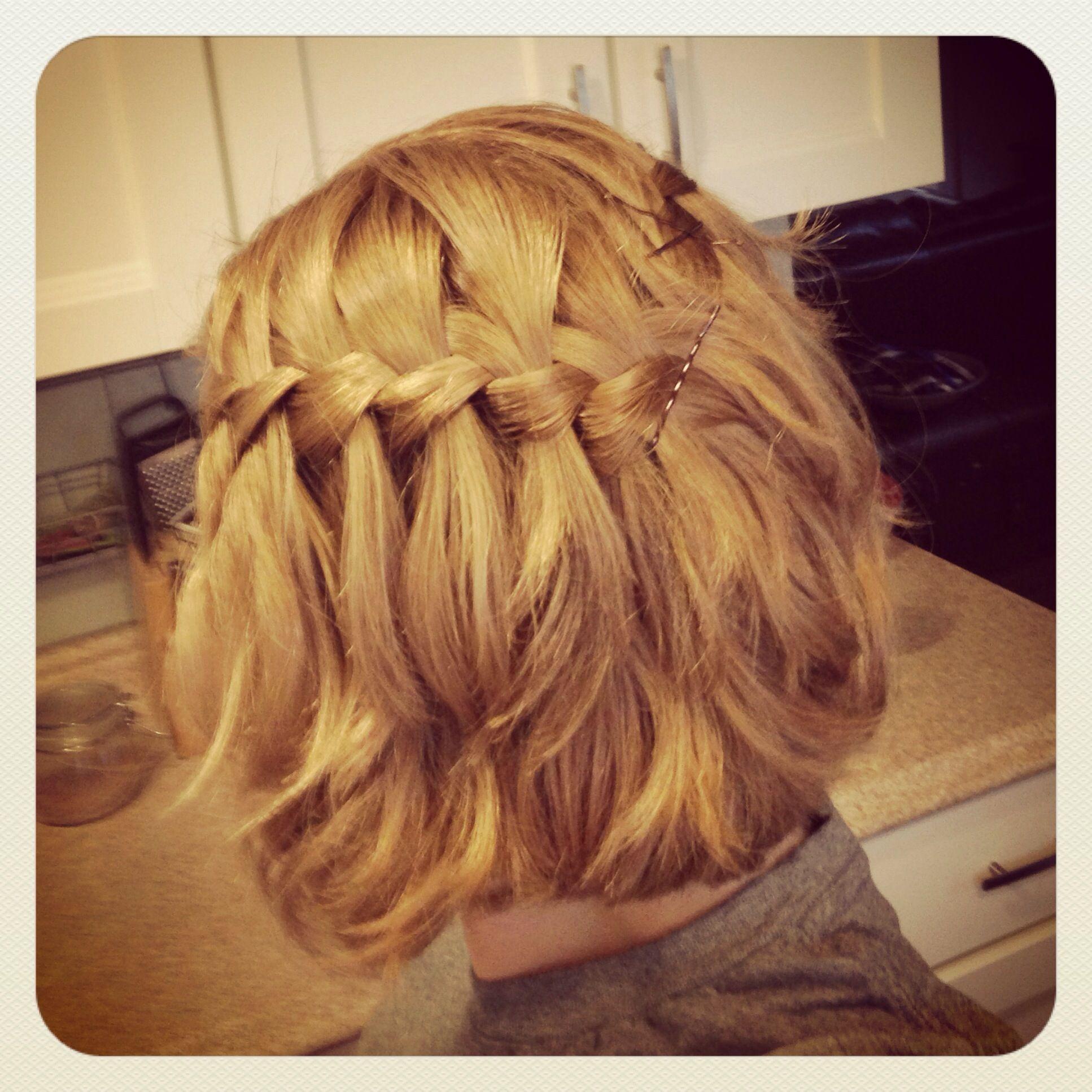 Waterfall Braid, Medium Length Short Hair, Honey Blonde