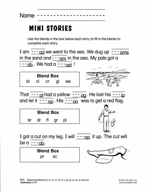 Beginning Blends Free Phonics Worksheet OG Blends – Free Worksheet