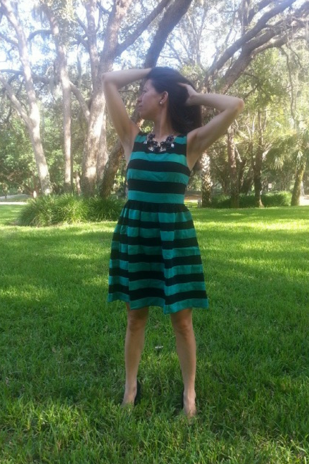 Fully Lined Boutique Dress from Lucy Paris! Green with Black. - 5dollarfashions.com