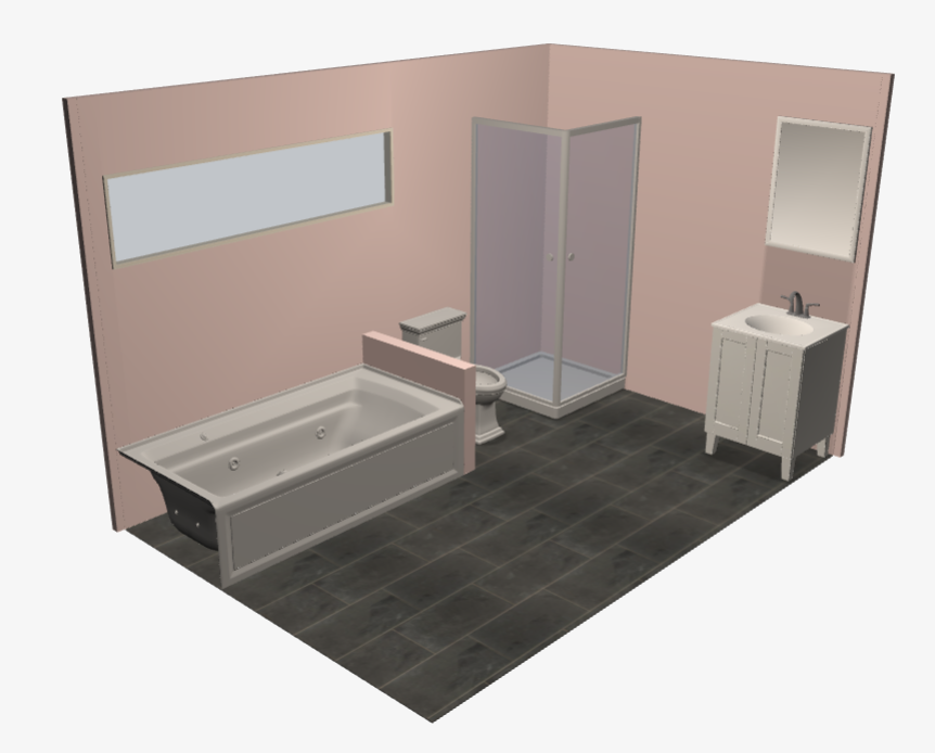 Bathroom Knee Wall pink bathroom with: - black 12x24 slate tile flooring - white