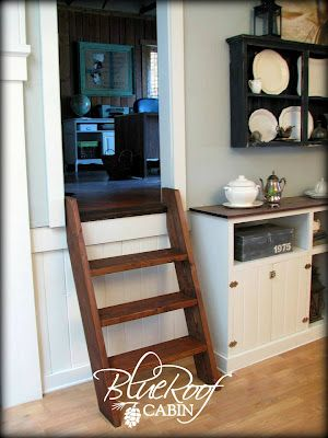 Ship's ladder stairs by blue roof cabin blog.