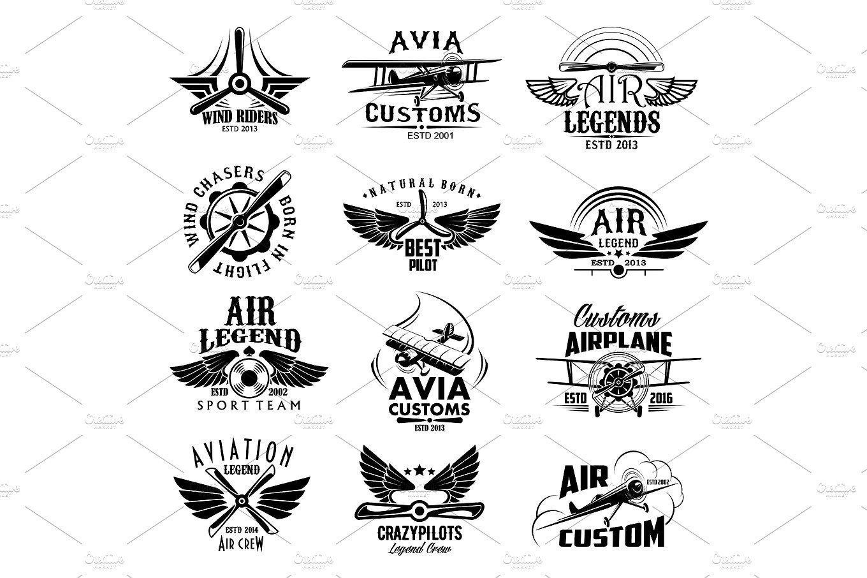Aviation retro airplane sport team vector icons Pilot