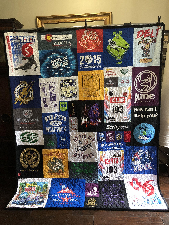 gift for a graduating senior using their sports shirts and jerseys Custom High School Senior tshirt quilt create a unique mosaic quilt