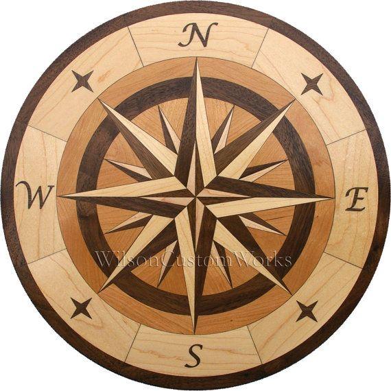 Compass Rose Floor : Hardwood flooring compass medallion inlay by