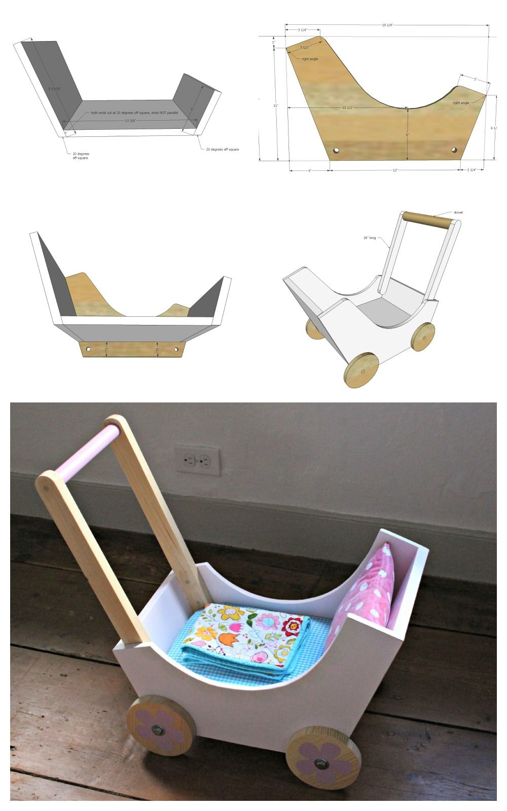 Wood Doll Pram or Stroller Diy dolls pram, Wooden diy