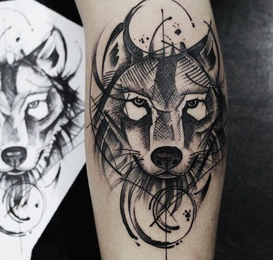 Tatuajes De Lobos Geométricos Realistas Color Tattoos