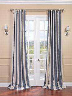Veranda Navy Stripe Linen Blend Curtains Curtain Styles