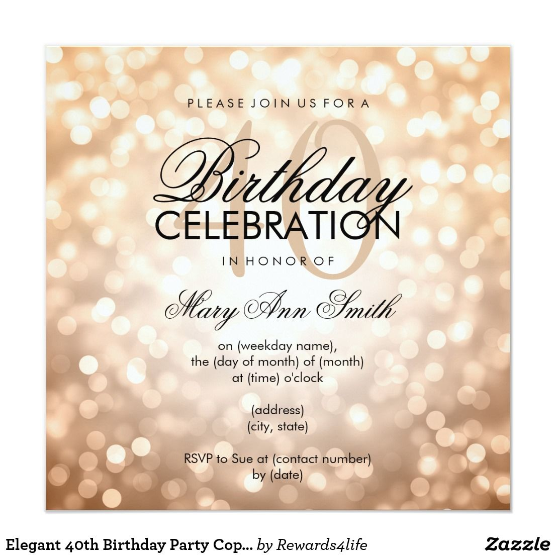 Elegant 40th Birthday Party Copper Glitter Lights Invitation ...
