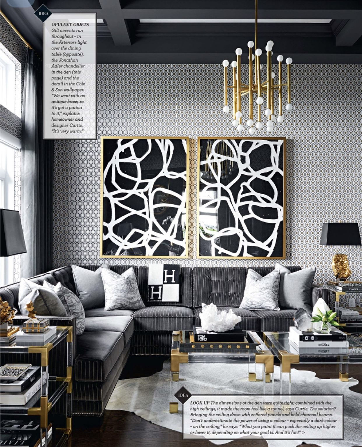 Gold And Grey Modern Masculine Glamour Living Room By