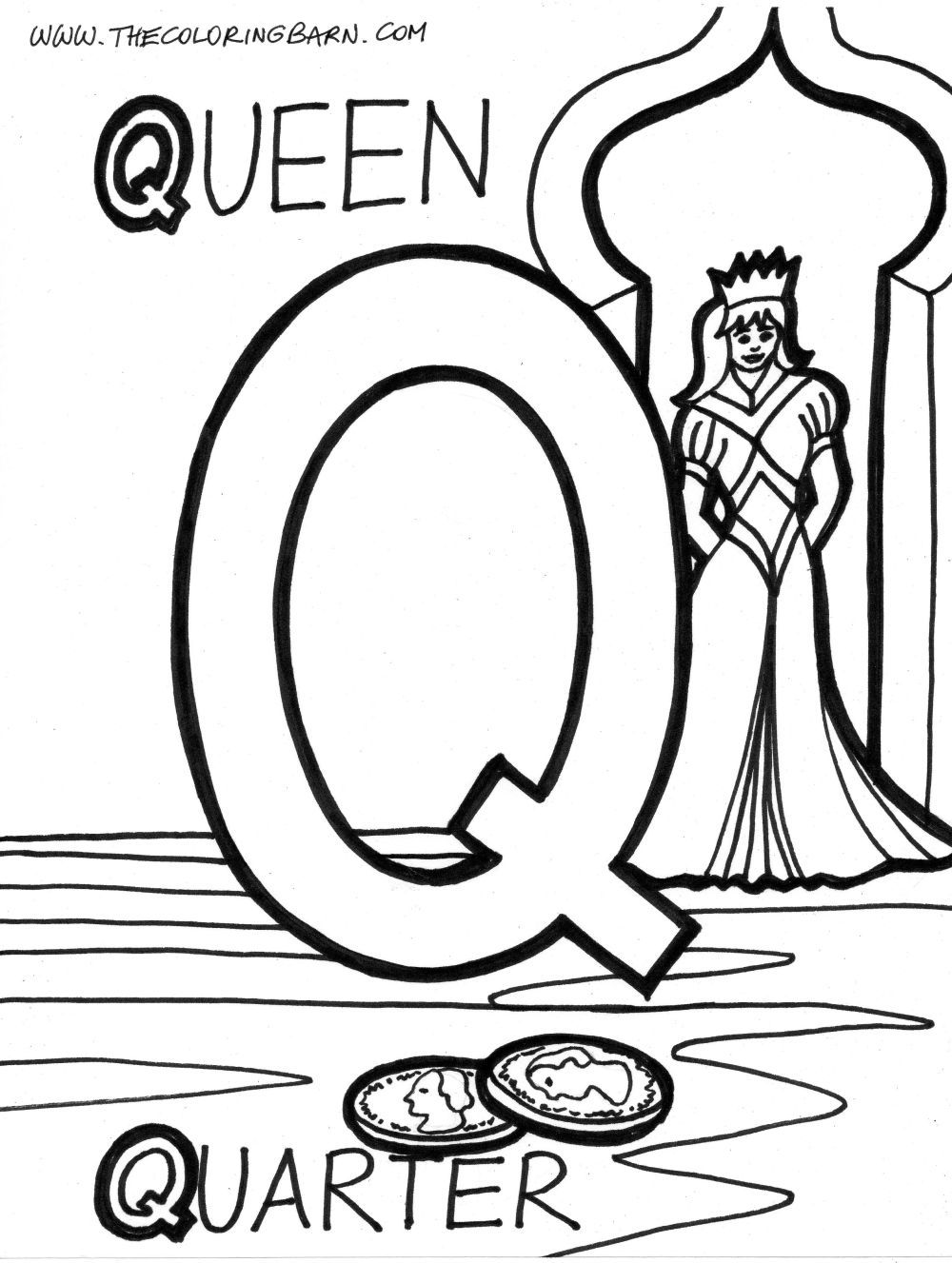 images of the letter q alphabet q coloring page