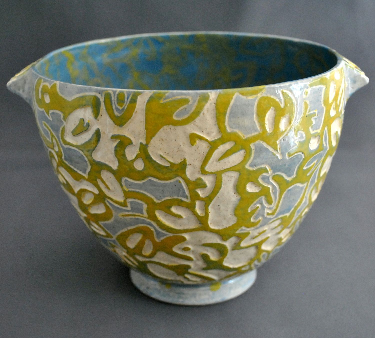 Shade Patterns  Ooak, Hand Made, Sgraffito, Stoneware, Ceramic Bowl,