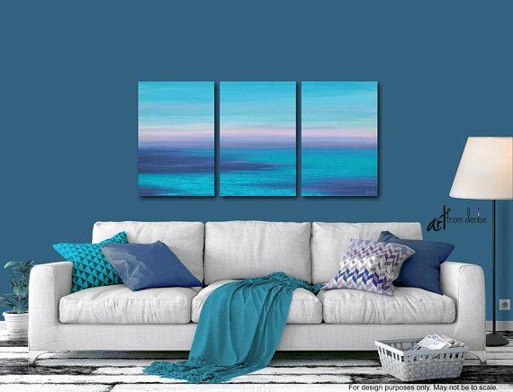 Beachy Triptych Painting 3 Piece Wall Art Canvas Ocean Sunset Etsy Blue Abstract Wall Art Living Room Wall Beach House Decor
