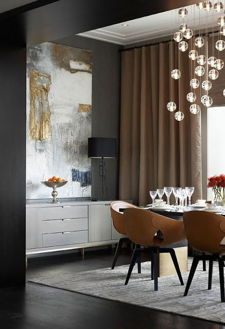 Dining Area Grey Walls Mid Century Mod Furniture Large Scale Art Dramatic Drapes And Jewelry