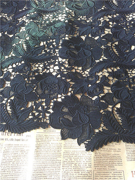 Black Lace Fabric, black guipure lace fabric, black venise lace fabric, black lace fabric with florals