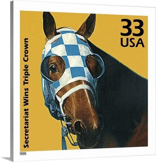 Secretariat Wins Triple Crown Postage Stamp Art by Kazuhiko Sano