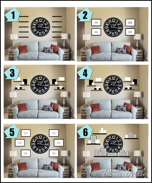 With The Large Mirror In The Center Adding A Shelf Above The Couch.wall  Collage Ideas Around A Clock. Ideas To Use With Our Big Clock In Living Room .