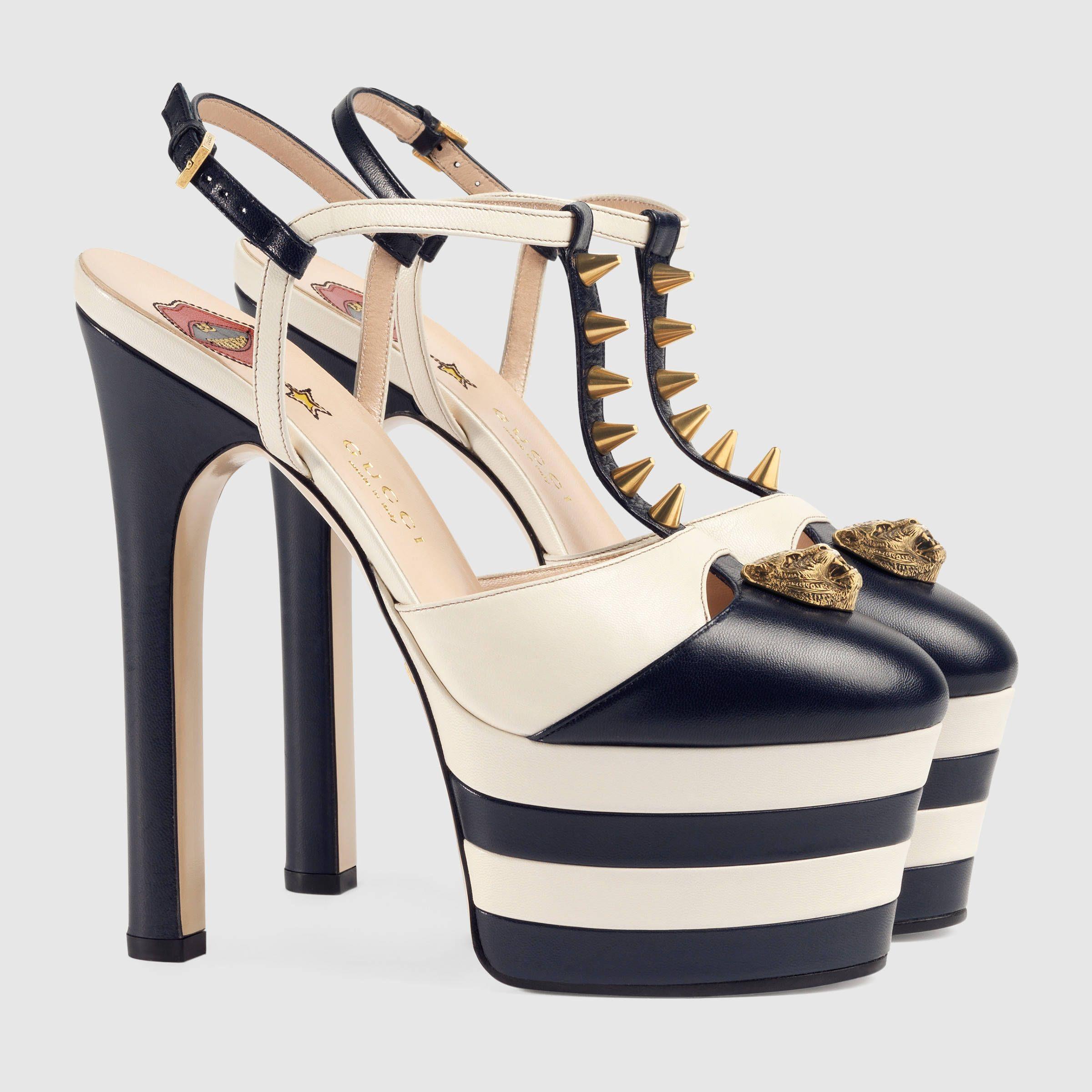 3e95cb66f Gucci Women - Studded leather platform pump - 421627C9D104071 ...