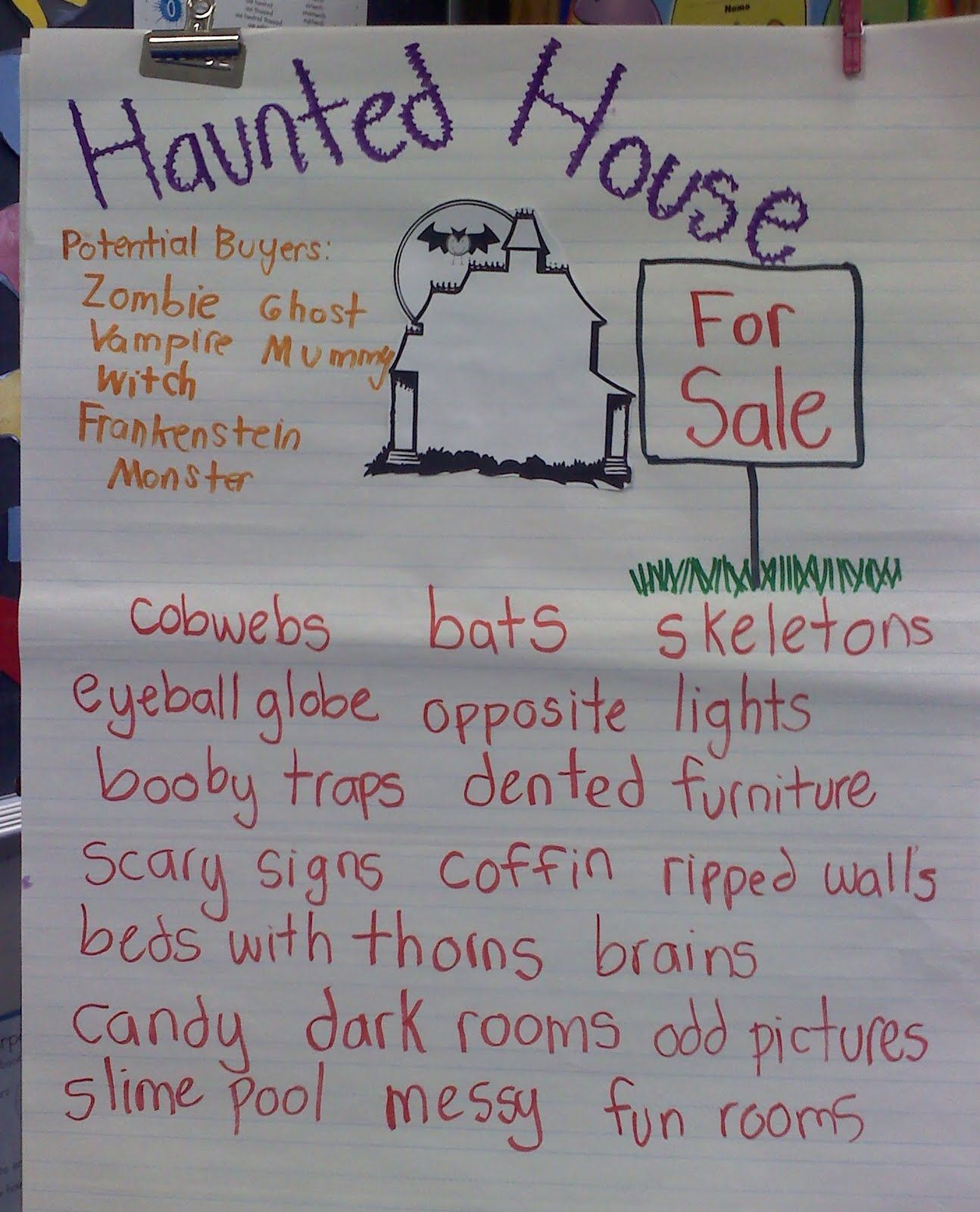 this teacher used my haunted house for writing packet writing
