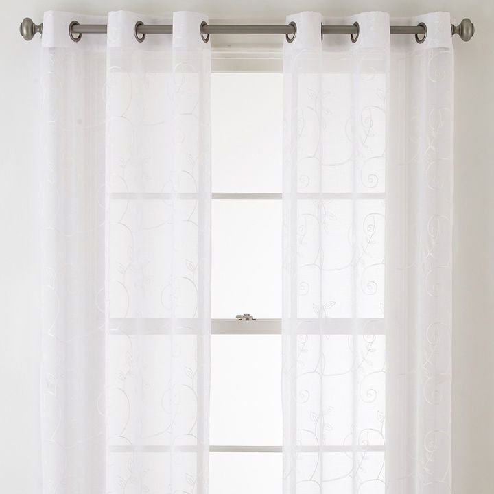 Home Expressions Riley 2 Pack Grommet Top Sheer Curtain Panel