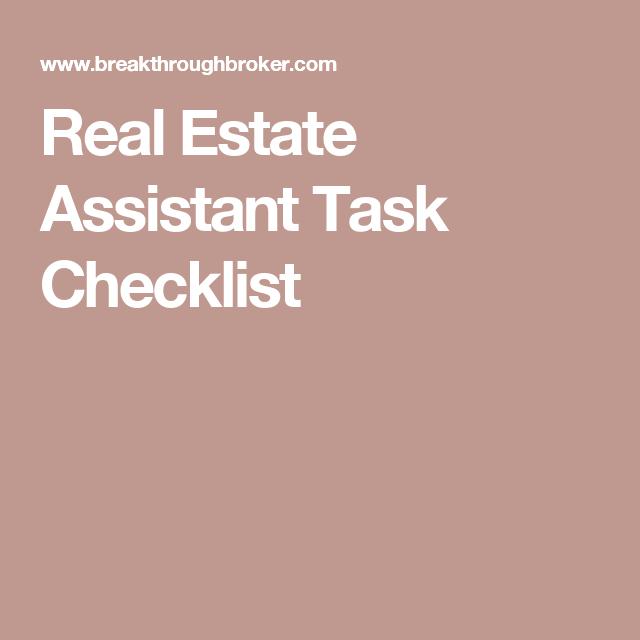 Real Estate Assistant Task Checklist  Real Estate