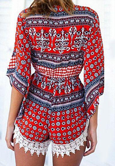 Red Bohemia Printing Deep V Lace Crochet Half Bell Sleeve Jumpsuit