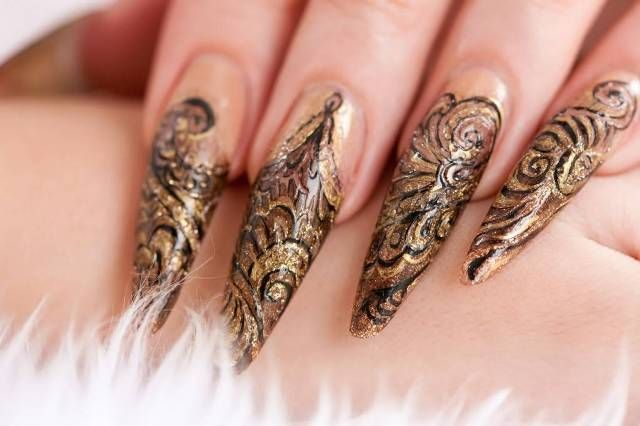 Latest New Year Bridal Party Nail Cutting Styles 2015 Nail Art And