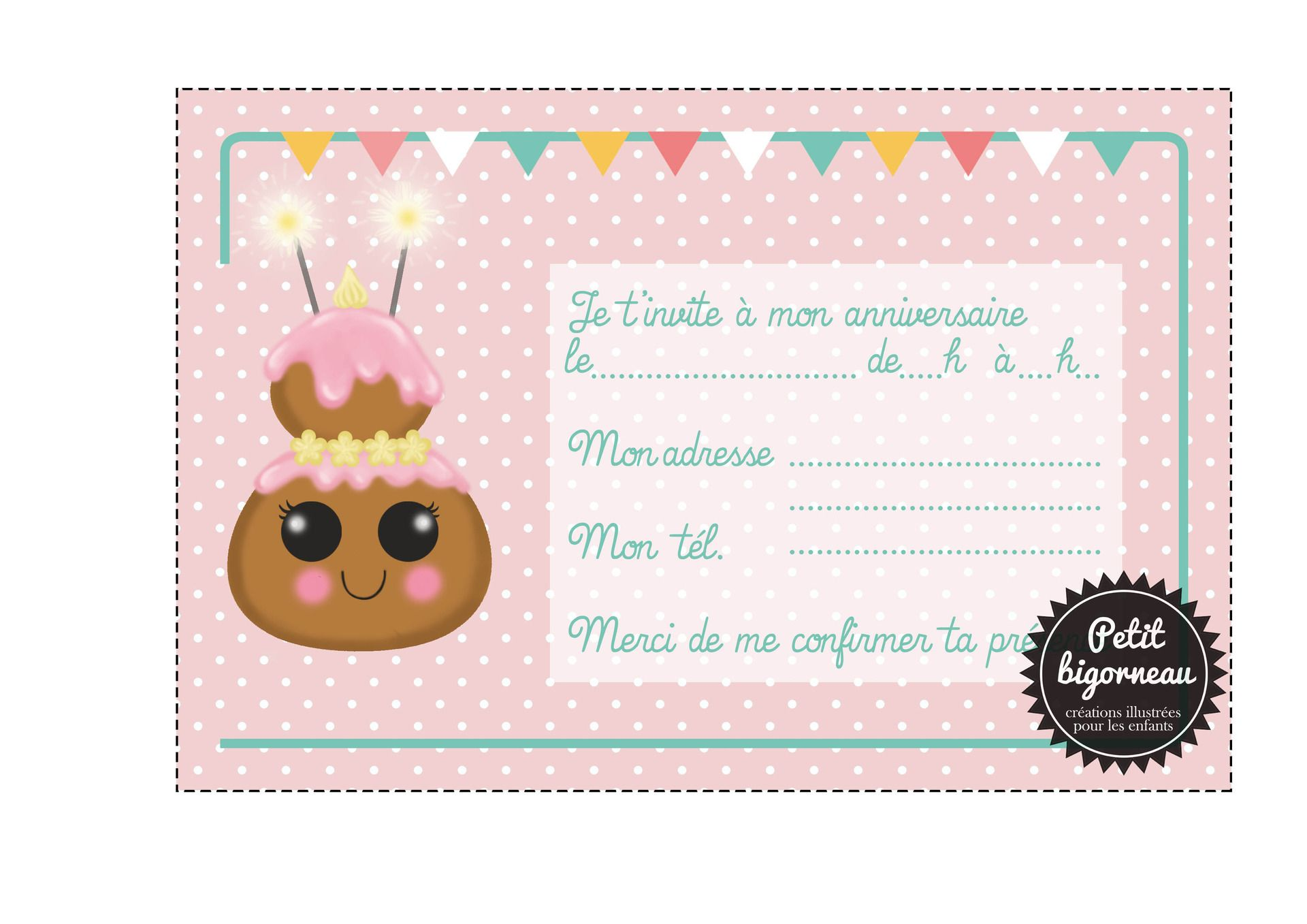 pdf carte d 39 invitation anniversaire enfant imprimer chou cartes par petit bigorneau. Black Bedroom Furniture Sets. Home Design Ideas