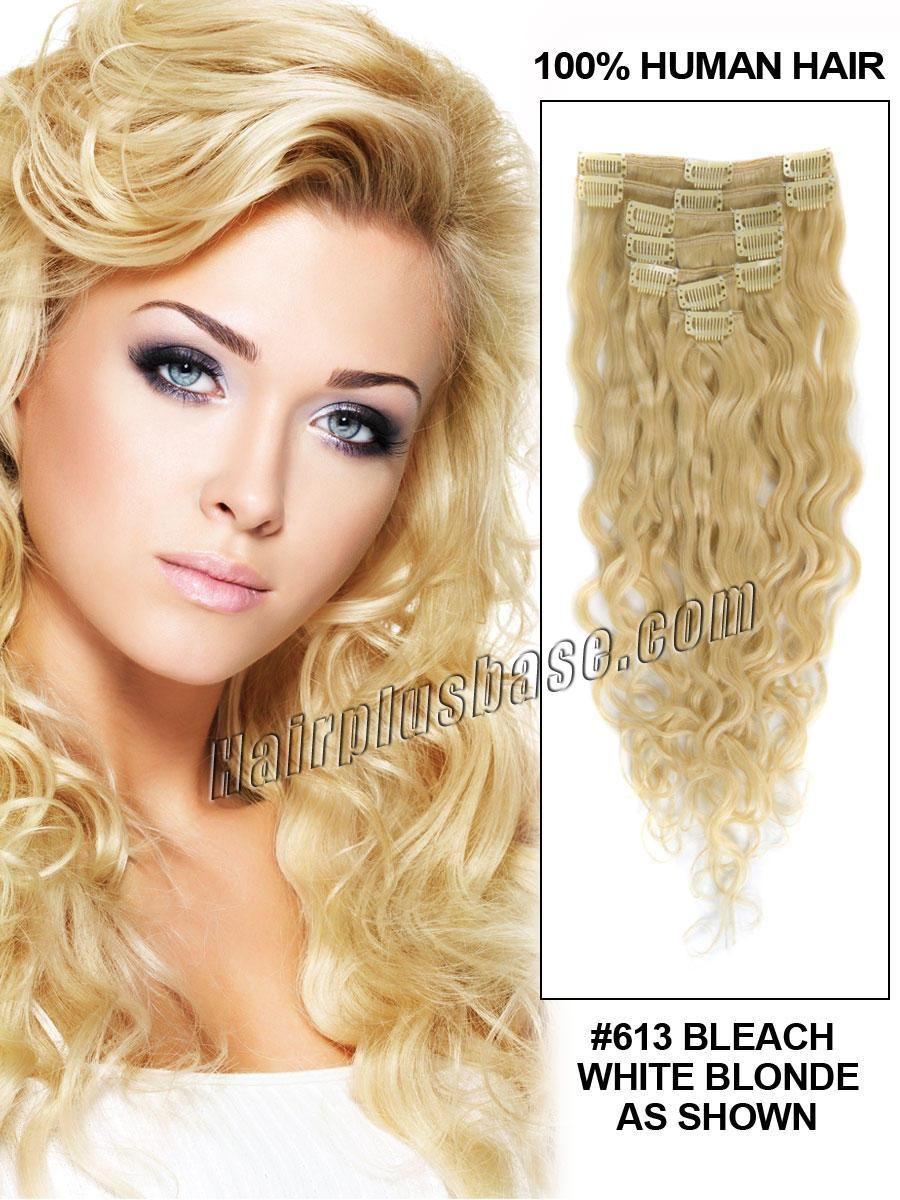 26 Inch 613 Bleach Blonde Full Head Clip In Hair Extensions
