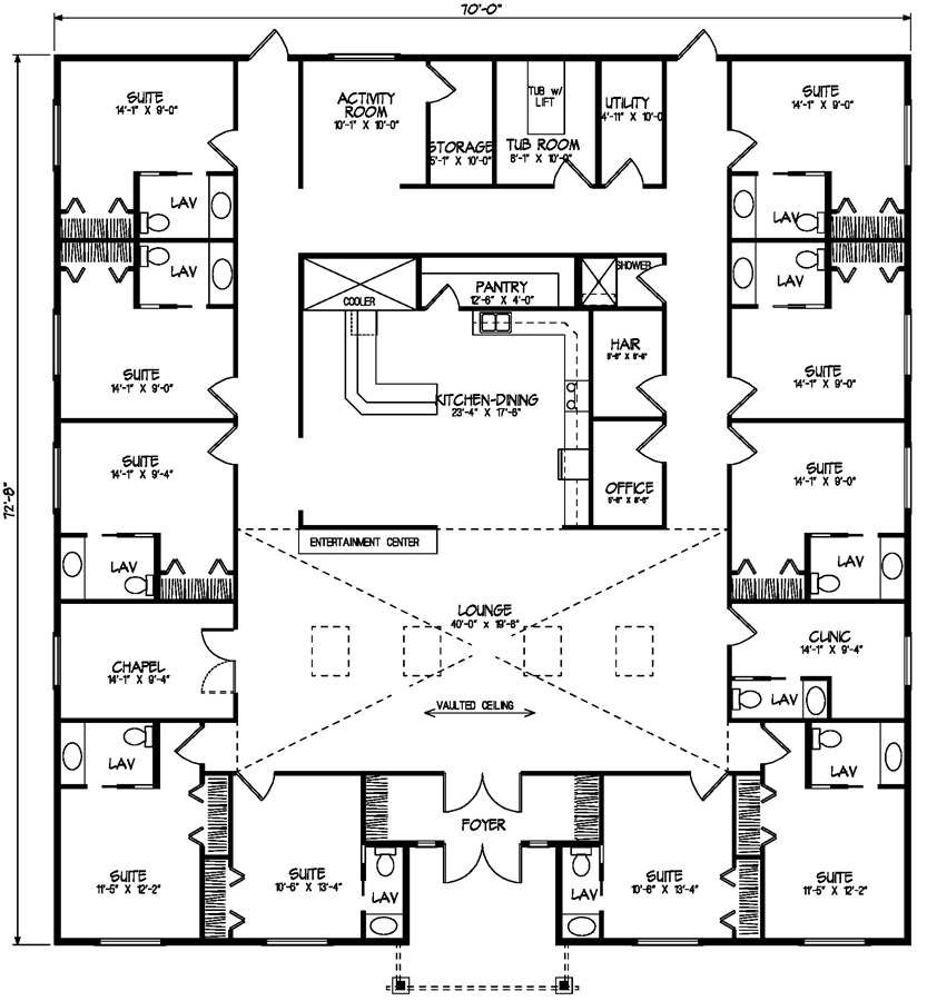 Care home sq footage 4991 bedrooms bathrooms floors 1 for Multi unit home plans