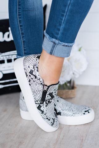 Lola Snakeskin Slide Sneakers (White