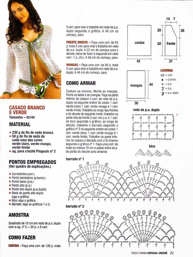 Chaqueta Bolero Calada Crochet Patron - Patrones Crochet | CROCHET ...