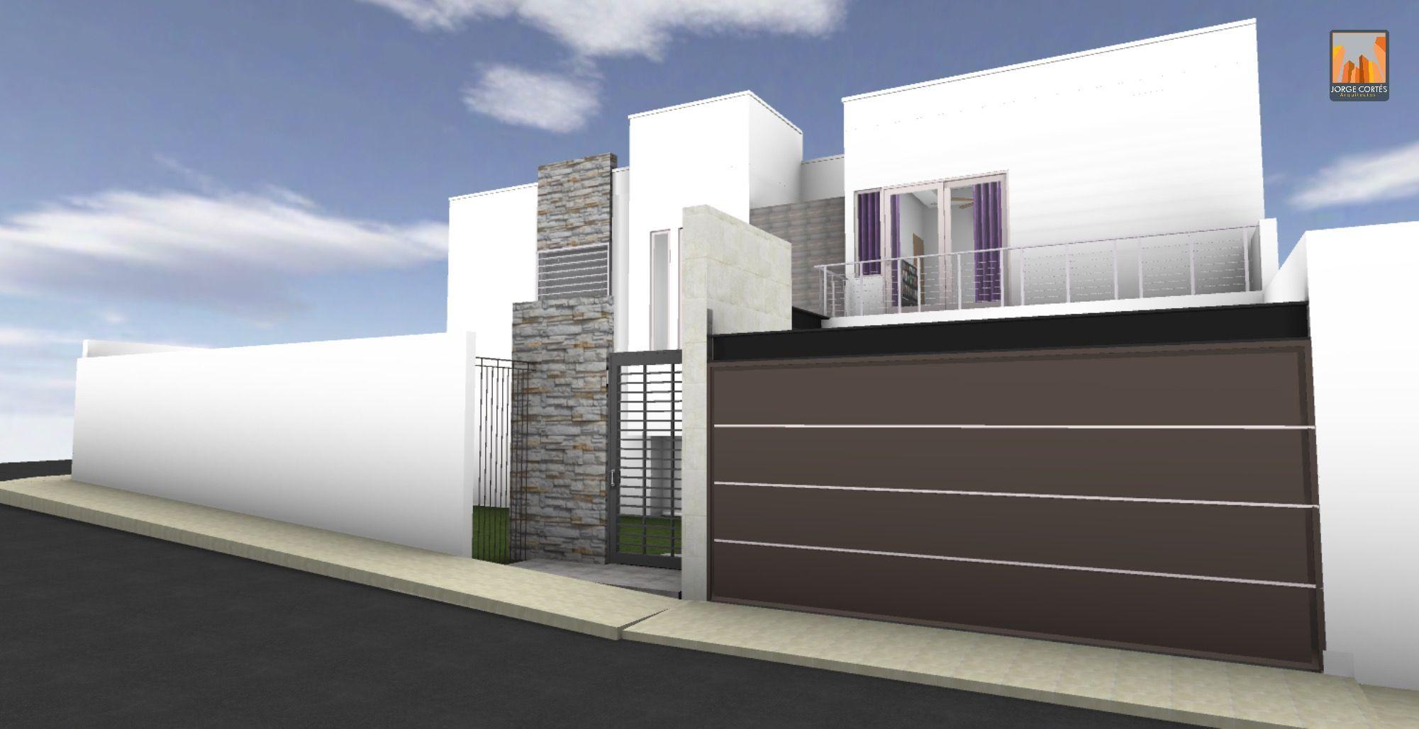 Casa arquitectura contemporánea piedra portón blanco