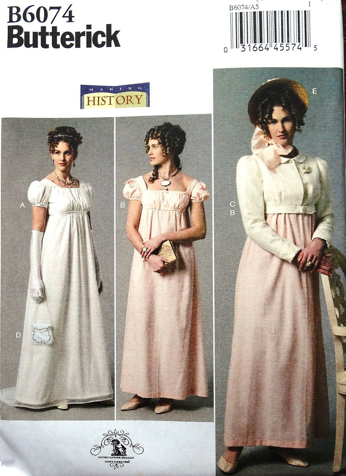 f3072f2708 BUTTERICK B6074 Regency Dress Jacket Hat Jane Austen Style Costume Pattern 6-22  in Crafts