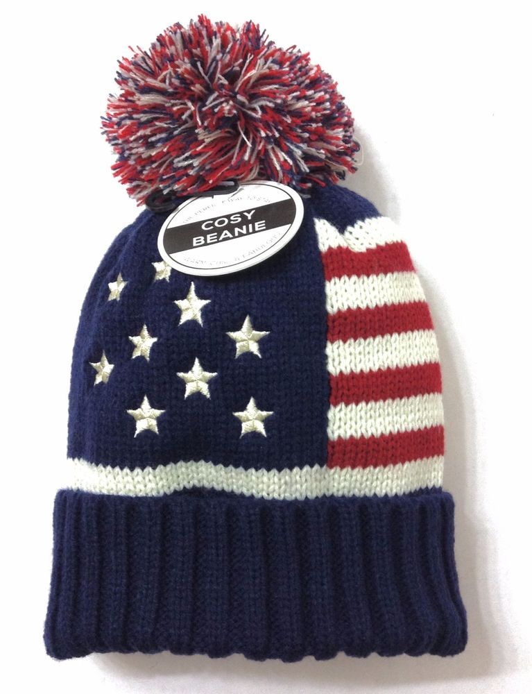 71ae4bfc145 Womens STARS STRIPES BEANIE Navy-Blue Off-White Red Winter Knit American  Flag  UnderOneSky  Beanie  Winter