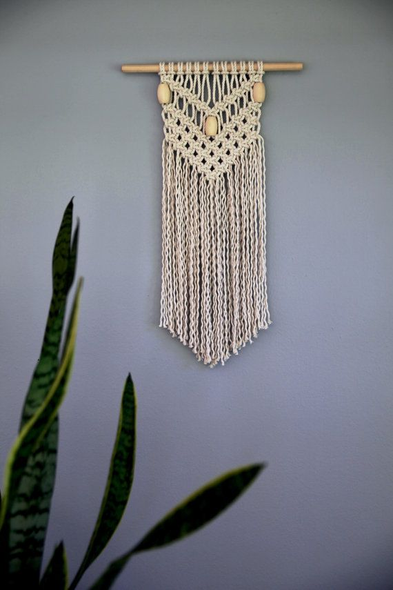 15 Off Sale Macrame Wall Hanging Natural White Cotton Rope W Wooden Beads Ready To Ship Small Wall Hangings Macrame Wall Hanging Macrame Patterns